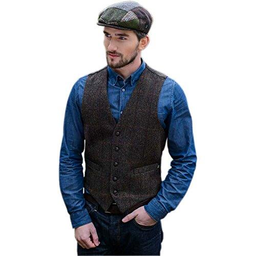 Tweed Vest For Men, 5 Buttons, Top Quality, Made In Ireland, Brown, Medium - Irish Tweed Jackets