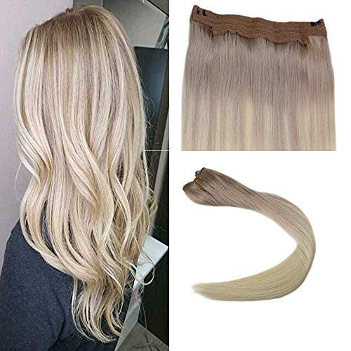 Easyouth Halo Secret Invisiable Hair Extension Flip on 14 Inch Color #18 Ash Blonde Fading To #60 Platinum Blonde Flip Hair Extensions in Balayage Color with Fish Line