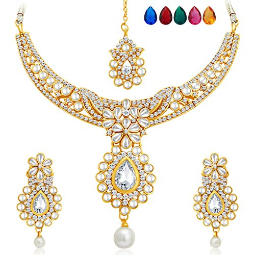 Sukkhi Delightly Gold Plated AD Necklace Set with Set of 5 Changeable Stone for Women