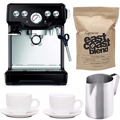 Breville BES840BSXL The Infuser Espresso Machine (Black Sesame) Bundle with Stainless Steel Frothing Pitcher Two Ceramic Tiara Espresso Cup and Saucer and 1 lb Whole Bean Coffee