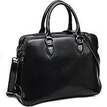 Yaluxe Women's Double Zipper Genuine Leather Organizer Handbag Cross Body Shoulder Bag Black