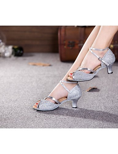Heel Leatherette SNEED Shoes eu37 silver Red Other Cuban Women's Synthetic Paillette 5 Sparkling cn37 Belly Silver uk4 5 7 Dance Samba us6 Glitter 5 Latin f7Y7xErqw