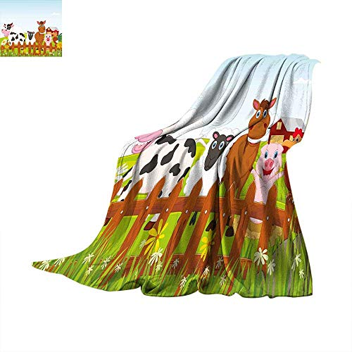 Farm Throw - Animal King Flannel Blanket Cute Farm Creatures with Cow Horse Goat Pig and Chicken by The Fences Kids Cartoon Weave Pattern Extra Long Blanket 50 x 30 inch Multicolor