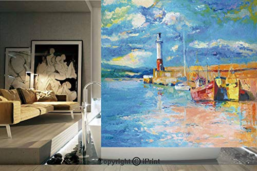 Decorative Privacy Window Film/Oil Painting Tones Style Lighthouse and Boats on Sea Shore Town Coastal Charm Picture Decorative/No-Glue Self Static Cling for Home Bedroom Bathroom Kitchen Office Decor