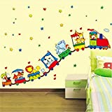 MISS MINI Animal Circus Train Wall Sticker Waterproof Removable Decal Kids Bedroom Nursery Home Decoration