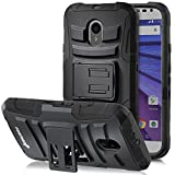 Fosmon (STURDY) Motorola Moto G (3rd Gen, 2015) Case: Rugged Heavy Duty Hybrid Dual Layer Shell Case and Holster with Kickstand for Motorola Moto G (3rd Gen, 2015) - Fosmon Retail Packaging (Black)
