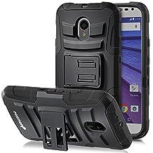 Fosmon (STURDY) Motorola Moto G (3rd Gen, 2015) Case: Rugged Heavy Duty Hybrid Dual Layer Shell Case and Holster with Kickstand for Motorola Moto G (3rd Gen, 2015) - Fosmon Retail Packaging (Black)