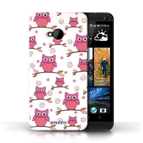 Etui / Coque pour HTC One/1 M7 / Rose/blanc conception / Collection de Motif Hibou