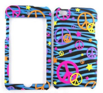 (Apple iPod Touch 4 Transparent Design, Colorful Peace Signs on Blue Zebra Hard Case,Cover,Faceplate,SnapOn,Protector)