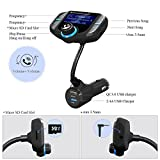(Upgraded Version) Bluetooth FM Transmitter, GRDE Wireless Radio Adapter Hands-Free Car Kit Receiver with QC 3.0 USB Car Charger, AUX Input/Output, TF Card Slot and LED Display