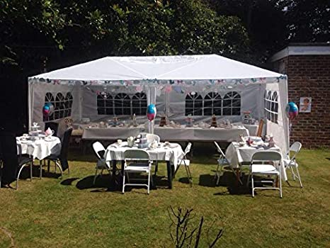 Dkeli 10x20 Party Canopy Tent Outdoor Wedding Tent Waterproof UV Protection Gazebo Pavilion with 4 Removable Sidewalls Heavy Duty Portable Camping Shelter BBQ Pavilion Canopy Cater Events White