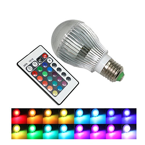 CO-Z 9W E27 16-color changing RGB LED Light Bulbs with Remote Control 100-240V AC by CO-Z