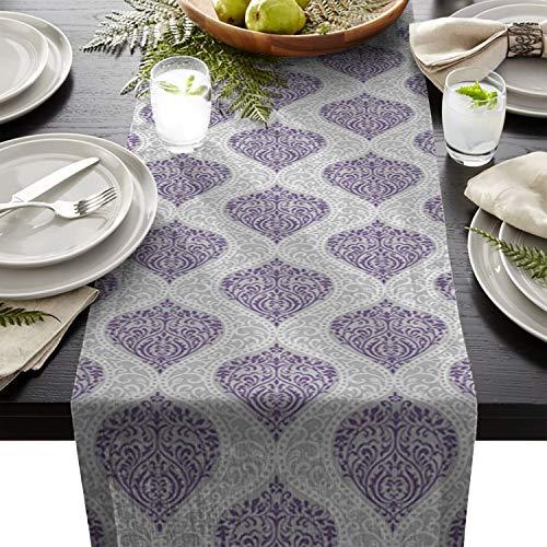 (Fandim Fly European Style Purple Damask Wallpaper Decorative Pattern Cotton Table Runner Decorative - Holiday Table Setting Decor Single Layer 13x70inch)