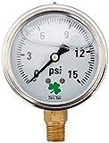 Zenport LPG15 Zen-Tek Glycerin Liquid Filled Pressure Gauge, 15 PSI