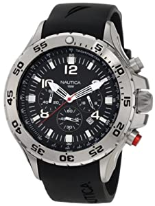 Nautica Men's N14536 NST Stainless Steel and Black Resin Watch from Nautica