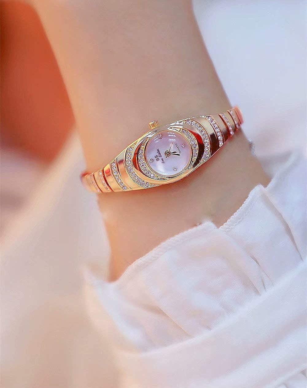 Big Bargain Store Reloj de Pulsera de Diamantes Elegante para Mujer Reloj de Pulsera de Perlas de Cuarzo para Mujer de Moda Golden