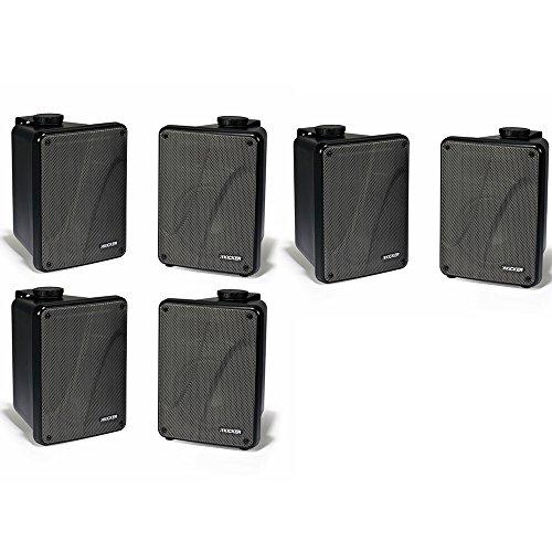 Kicker 11KB6000B Black Outdoor Speaker Bundle - 6 Speakers Black Kicker