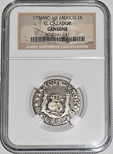 1736 ES MO MF 2 Reales PILLAR El Cazador Shipwreck Coin,NGC Certified 3720241147 Real Fine