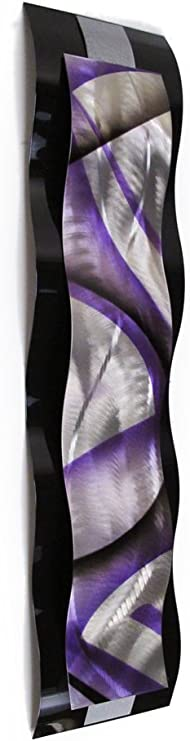 Amazon Com Metal Wall Art Sculpture Purple Contemporary Rhythmic Curves Silver Black Modern Abstract Painting Home Decor Kitchen