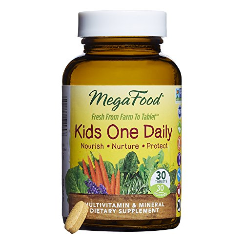 MegaFood - Kid's One Daily, Multivitamin Support for Healthy Growth and Development without Artificial Sweeteners or Food Coloring, Vegetarian, Gluten-Free, Non-GMO, 30 Mini-Tablets (FFP) by MegaFood