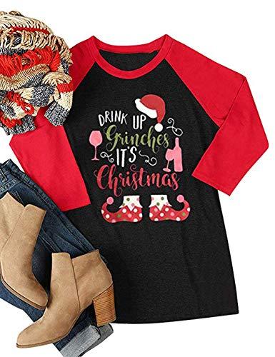 Drink Up Grinches It's Christmas T-Shirt Women Raglan 3/4 Sleeve O-Neck Xmas Baseball Tops Tee Size XL (Red)