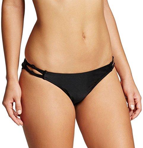 Xhilaration Swim Bottom - Xhilaration Women's Knotted Strappy Cheeky Bikini Swim Bottom (Black, Medium)