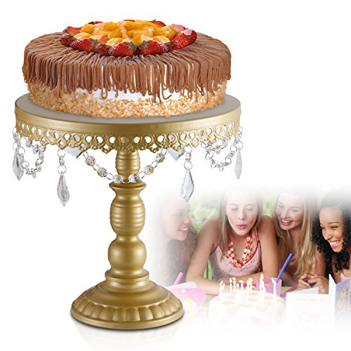 """Antique Metal Cake Stand, Round Cupcake Stands, Wedding Birthday Party Dessert Cupcake Pedestal/ Display/Plate with Crystals and Beads, Green Gold (L:12X11.5"""")"""