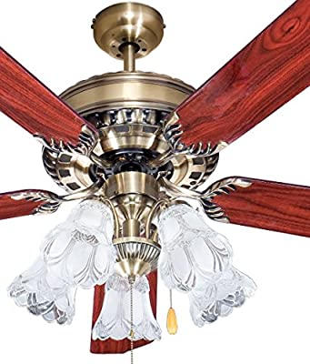 OL52066-R Fabulous Ocean Lamp Ceiling Fan Antique Brass 5-lights Fixture 2 Color Reversible Blades