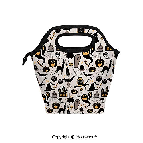 Insulated Neoprene Soft Lunch Bag Tote Handbag lunchbox,3d prited with Halloween Cartoon Jack o Lantern Tombstone Skulls and Bones,For School work Office Kids Lunch Box & Food Container for $<!--$21.99-->