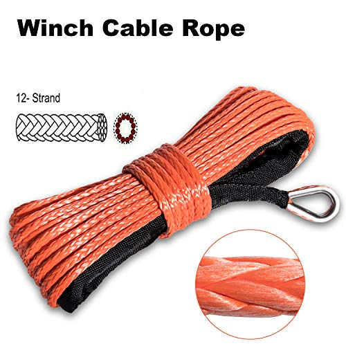 Nylon Synthetic Winch Rope 8000+LBs 50'x1/4