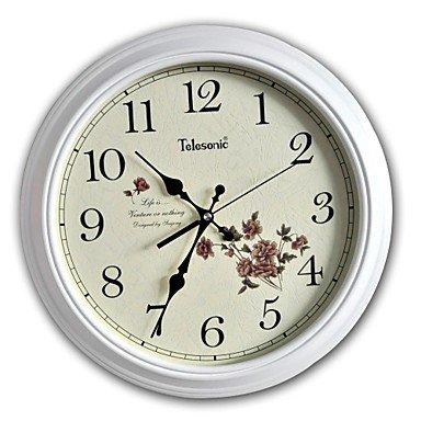 Reloj de pulsera para mujer // / de la oficina del país retro/de cristal Plástico de negocios reloj de pared redondo 15, de color blanco: Amazon.es: Relojes