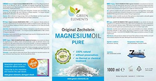 Aceite de magnesio PURO de Zechstein - Set compuesto de 1000 ml de agua salina natural con cloruro de magnesio + frasco pulverizador de 100 ml a modo de ...