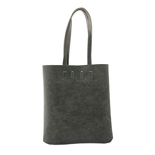 d29691d05b4f Women Ladies Girls Retro Vintage Faux Suede Leather Big Capicity Shopper  Large Tote Bag Fashion Unicolor Logo Embossed Satchel Top-Handle Shoulder  ...
