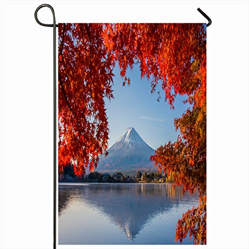 (Ahawoso Garden Flag 12x18 Inches Cherry Blue Asia Mount Fuji Autumn Nature Mt Red Tokyo Blossom Tree Sky Decorative Seasonal Double Sided Home House Outdoor Yard Sign)