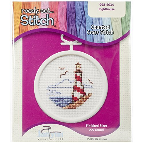 Cross Stitch Lighthouses - Janlynn 18 Count Round Mini Counted Cross Stitch Kit, 2-1/2-Inch, Lighthouse