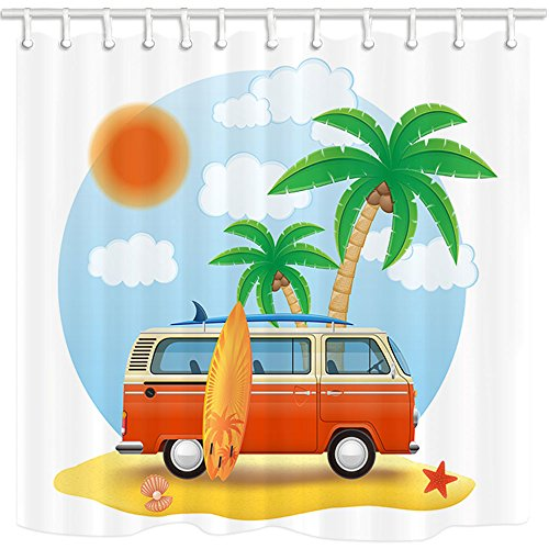 KOTOM Surf Decor Shower Curtain, Retro Minivan with a Surfboard on The Beach, Polyester Fabric Bath Curtains with Hooks 69W X 70L Inches