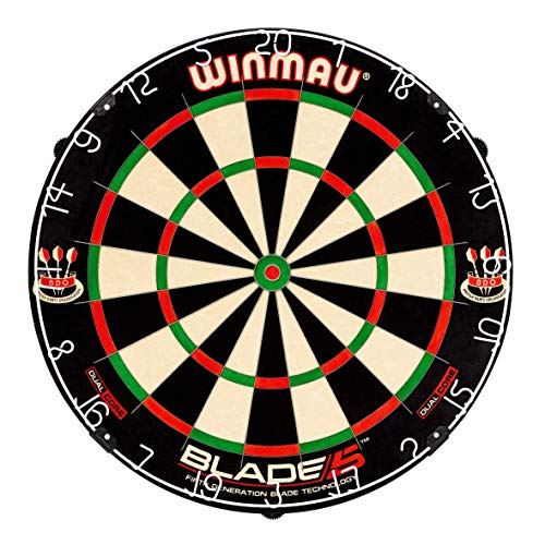 Winmau Blade 5 Dual Core Bristle Dartboard with Increased Scoring Area and Improved Dart Deflection for Reduced Bounce-Outs (Renewed)