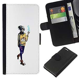 NEECELL GIFT forCITY // Billetera de cuero Caso Cubierta de protección Carcasa / Leather Wallet Case for Apple Iphone 5C // Emo fumadores Chica