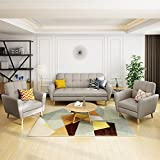 Angelina Mid Century Beige Fabric Sofa Chat Set Review