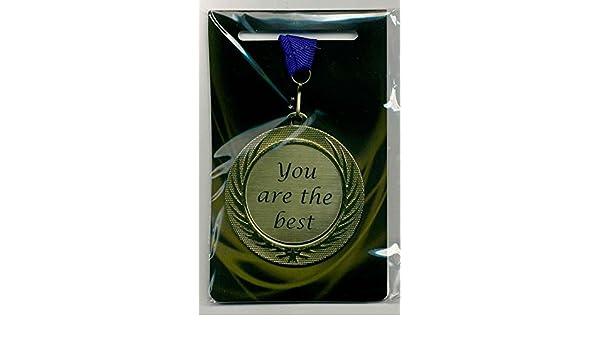 m-shop puede//Medalla Premio cartel con grabado l/áser y correa azul You Are The Best orden AM banda Di/ámetro 70/mm