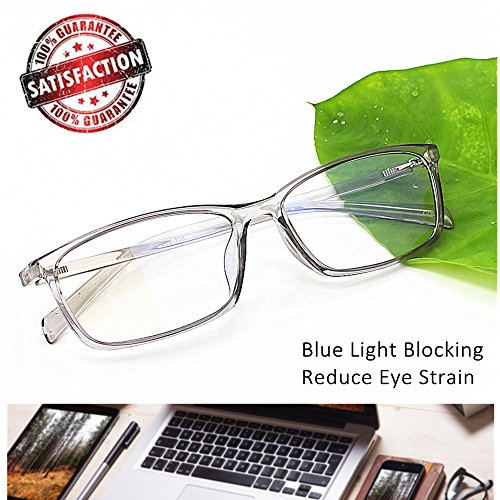 Computer Glasses Blue Light Blocking Reader Gaming Screen Digital Eyeglasses Anti Glare Eye Strain Transparent Lens UV Light Weight for Women Men Essential Gaming Gear Magnification 0