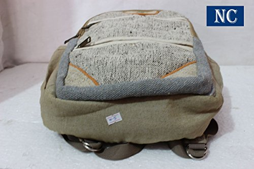 Pure Hemp Natural Light Greay Color Backpack Handmade Nepal with Laptop Sleeve - Fashion Cute Travel School College Shoulder Bag / Bookbags / Daypack by Nepal Hemp House (Image #3)