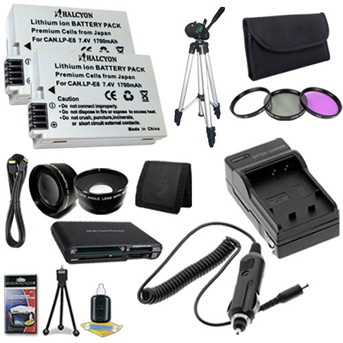 TWO LP-E8 Lithium Ion Replacement Batteries w/Charger + Mini HDMI + Memory Card Reader/Wallet + Deluxe Starter Kit + 3 Piece Filter Kit + Tripod + Wide Angle/Telphoto Lenses for Canon EOS Rebel T2i T3i Digital SLR Camera DavisMAX Bundle