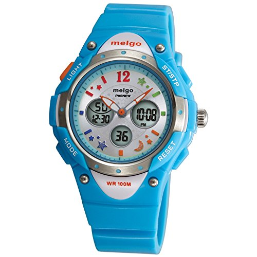 PASNEW Water-proof 100m Dual Time Unisex Child Outdoor Sport Watch Blue by pasnew