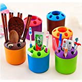 90 PCS Bestga Multi-purpose Porous Brush Pot Toothbrush Toothpaste Holder Bathroom Cabinet Organizer Plastic Storage Stand For Travel and Home