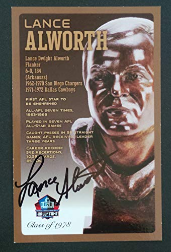 (PRO FOOTBALL HALL OF FAME Lance Alworth Signed Bronze Bust Set Autographed Card NFL San Diego Chargers (Limited Edition #95/150))