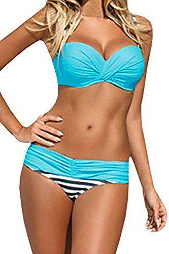 (Podlily Womens Sexy Stripes 2 Pieces Halter Bikini Sets Push Up Low-Waisted Bathing Suits Swimsuit Small Light Blue)