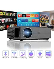 "Bluetooth Projector, Android WIFI Projector 1080P, Home Theatre Projector 4K Ultra HD Supported, 5000 Lumens LCD 300"" Display, 2.4+5G Dual WIFI, HDMI USB SPDIF Compatible with Smart Phone Table Laptop"