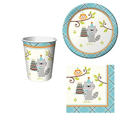 Happi Woodland Boy Birthday Party Set: Plates, Napkins, Cups Kit for 16