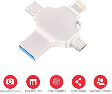 4 In 1 USB Memory Flash Drive for IPhone Android USB OTG TYPE-C Lightning 256GB